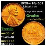 1928-s FS-501 Lincoln 1c Grades Unc details rD