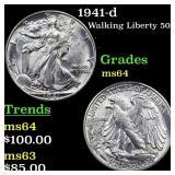1941-d Walking Liberty 50c Grades Choice Unc