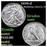 1939-d Walking Liberty 50c Grades Select Unc