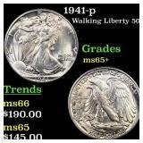 1941-p Walking Liberty 50c Grades GEM+ Unc