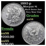 1892-p Morgan $1 Grades Choice AU/BU Slider