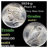 1924-p Peace $1 Grades Choice+ Unc