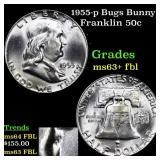 1955-p Bugs Bunny Franklin 50c Grades Select Unc+