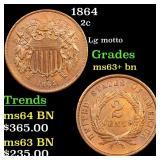 1864 2c Grades Select+ Unc BN