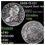 1828 O-117 Capped Bust 50c Grades vf++