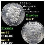 1889-p Morgan $1 Grades Choice+ Unc