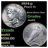 1934-p Peace $1 Grades Select Unc