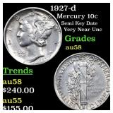 1927-d Mercury 10c Grades Choice AU/BU Slider