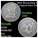 1835 Browning 1 Capped Bust 25c Grades vf, very fi