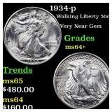 1934-p Walking Liberty 50c Grades Choice+ Unc