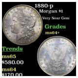 1880-p Morgan $1 Grades Choice+ Unc