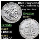 1924 Huguenot Old Commem 50c Grades Choice+ Unc