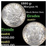 1891-p Morgan $1 Grades Select+ Unc
