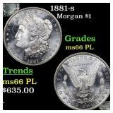 1881-s Morgan $1 Grades GEM+ UNC PL