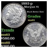 1892-p Morgan $1 Grades BU+