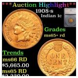 *Highlight* 1908-s Indian 1c Graded ms65+ rd