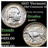 1927 Vermont Old Commem 50c Grades Select+ Unc