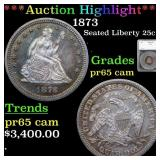 *Highlight* 1873 Seated Liberty 25c Graded pr65 ca