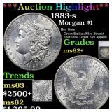 *Highlight* 1883-s Morgan $1 Graded ms62+