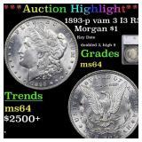 *Highlight* 1893-p vam 3 I3 R5 Morgan $1 Graded ms