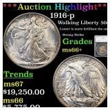 *Highlight* 1916-p Walking Liberty 50c Graded ms66