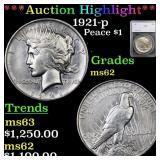 *Highlight* 1921-p Peace $1 Graded ms62