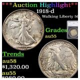 *Highlight* 1918-d Walking Liberty 50c Graded au55