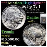 *Highlight* 1913-p Ty I Buffalo 5c Graded ms67+
