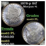 1878-p 8tf Morgan $1 Grades Select Unc PL