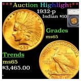 *Highlight* 1932-p Indian $10 Graded ms65