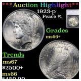 *Highlight* 1923-p Peace $1 Graded ms66+