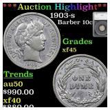 *Highlight* 1903-s Barber 10c Graded xf45