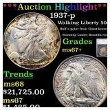 *Highlight* 1937-p Walking Liberty 50c Graded ms67