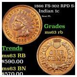 1866 FS-302 RPD S-3 Indian 1c Grades Select Unc RB