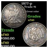 1877-p Trade $1 Grades xf