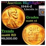*Highlight* 1944-d Lincoln 1c Graded ms68 rd