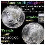 *Highlight* 1922-p Near TOP POP! Peace $1 Graded m