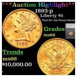 *Highlight* 1893-p Liberty $5 Graded ms66