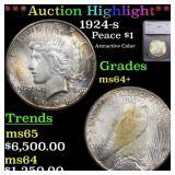 *Highlight* 1924-s Peace $1 Graded ms64+