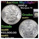 *Highlight* 1890-p Morgan $1 Graded ms65+