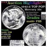 *Highlight* 1942-d TOP POP! Mercury 10c Graded ms6