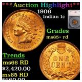 *Highlight* 1906 Indian 1c Graded ms65+ rd