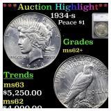 *Highlight* 1934-s Peace $1 Graded ms62+