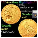 *Highlight* 1926-p Indian $2 1/2 Graded ms65