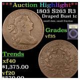 *Highlight* 1803 S263 R3 Draped Bust 1c Graded vf+