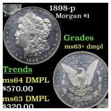 1898-p Morgan $1 Grades Select Unc+ DMPL