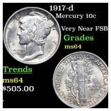 1917-d Mercury 10c Grades Choice Unc