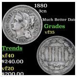 1880 3cn Grades vf++