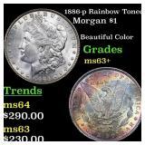 1886-p Rainbow Toned Morgan $1 Grades Select+ Unc