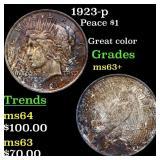 1923-p Peace $1 Grades Select+ Unc